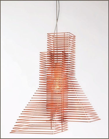Modern Italian designer suspended light in copper wire