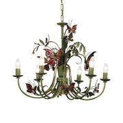 Green Metal Chandelier with Multi-colour Butterflies