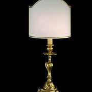 Brass table light with white Venetian-style shade
