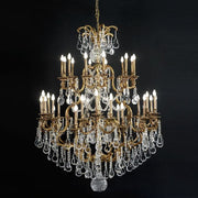 36 Light brass & Bohemian crystal chandelier