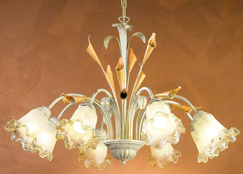 Eight Arm Lily Ceiling Pendant