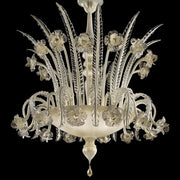White, clear & gold Murano glass art deco style chandelier