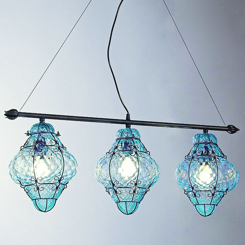Aquamarine Venetian baloton glass triple ceiling light