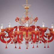 Red Venetian crystal chandelier with 24 carat gold