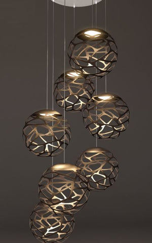 Kelly 7 light cluster in 3 colours