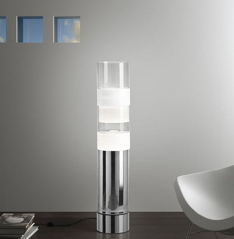 Modern white and clear Venetian glass pillar light