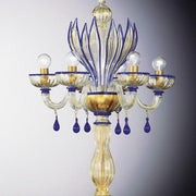Blue Murano  glass and crystal flambeau table lamp