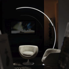 Kyudo curved aluminium LED floor lamp by Kundalini