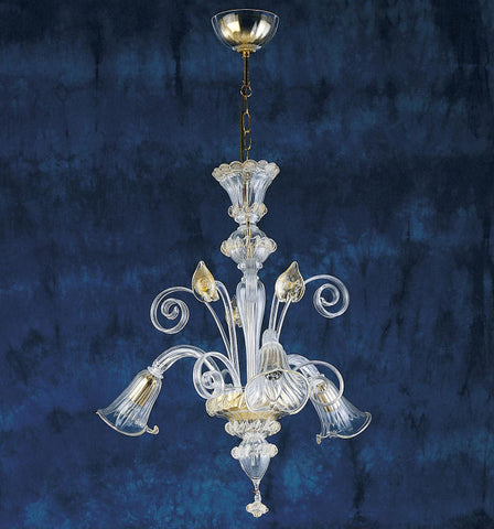 3 Light Murano Glass Chandelier with gold leaf