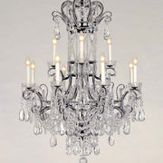 12 light Bohemian crystal and black metal chandelier by