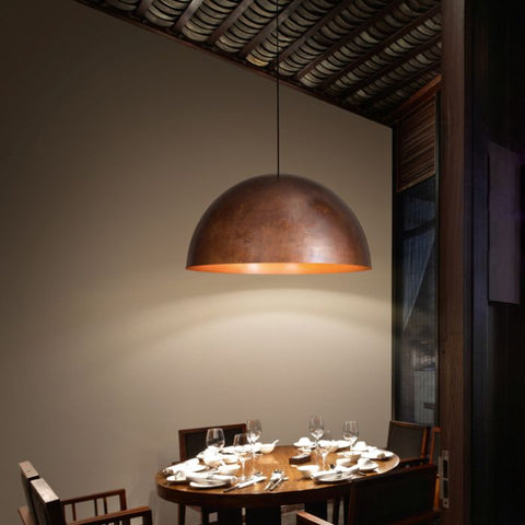 80 cm Oru F25 A07 copper dome pendant from Fabbian