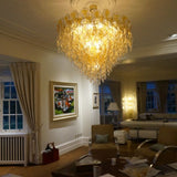 70 cm amber and clear Murano glass 60s and 70s style chandelier