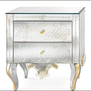 18th century-style engraved Venetian mirrored bedside table