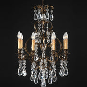 8 arm oxidized brass & Bohemian crystal chandelier
