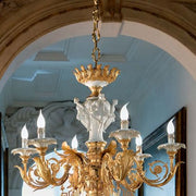 6 Light 24 Carat Gold Porcelain Chandelier