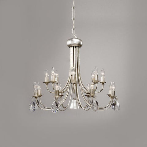 16 Lamp Silver Metal Chandelier with Swarovski Elements