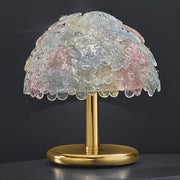 Multi-coloured pastel glass flower lamp with gold frame