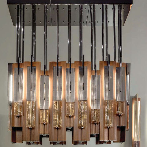 High-end modern wood and dark nickel chandelier