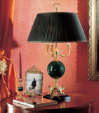 Italian table lamp with green enamelled globe and gold stars