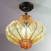 Amber Murano glass ceiling light with baloton finish