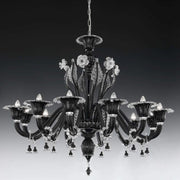 12 light black floral chandelier