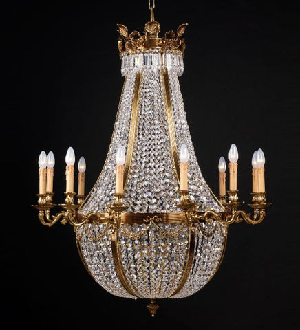 Lead Crystal Glass Empire Style Chandelier