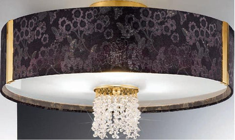 Black floral fabric ceiling light with clear crystals