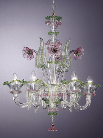 Murano crystal chandelier with flowers