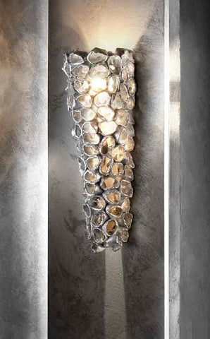 Modern ceramic wall light with silver leaf