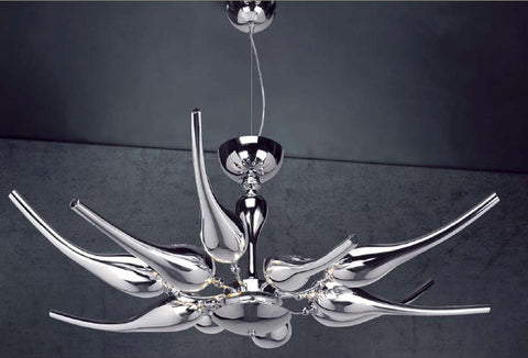 14 light metallic silver or gold glass chandelier