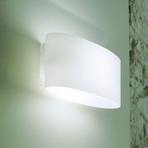 Modern Leucos glass wall light in satin white or clear glass