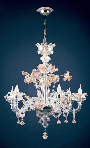 Murano glass chandelier with pink and gold decorations