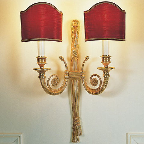 Classic 'rope' design wall sconce with two red shades