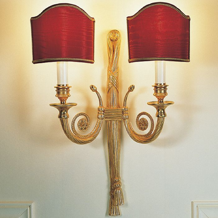 Classic Rope Design Wall Sconce With Two Red Shades 1887 01