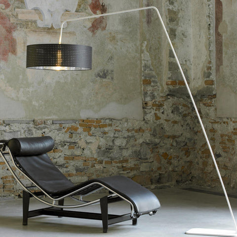 Chrome Italian floor lamp with perforated black or white shade
