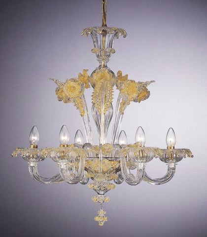 Venetian six arm chandelier with gold decorations