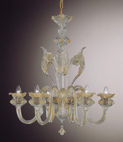 Murano 6 light flower chandelier in a range of colours