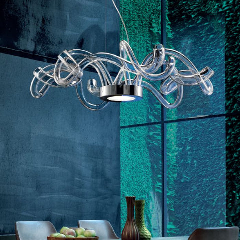 Luxurious modern clear Murano glass and chrome chandelier