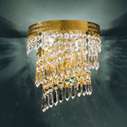 Classic Italian lead crystal wall light with 24 carat gold frame