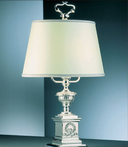 Classic palladium table lamp from Italy with silk shade