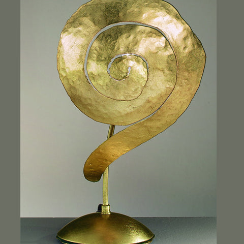 Hand-forged iron spiral table light with golden finish