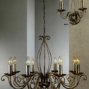 Lafayette black, gold & silver painted iron chandelier