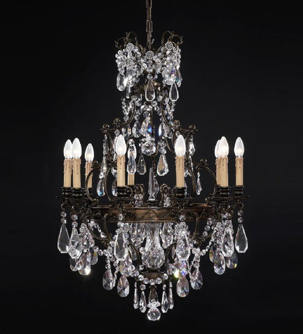 10 light classic brass chandelier with crystals