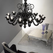 12 Light black glass Chandelier