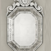 Large octagonal engraved Venetian mirror with black frame
