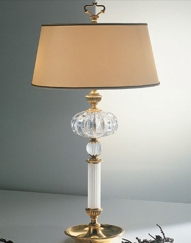 Murano crystal 24 carat gold plated lamp with silk shade