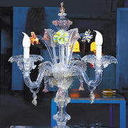 Murano glass flambeau table light with colourful flowers
