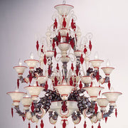 Red and white Rezzonico style chandelier with murrines