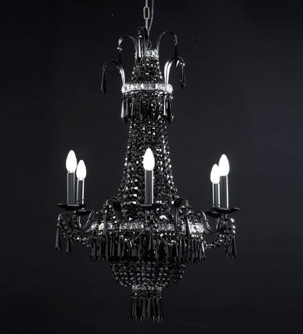 6 Light Black Empire Style Chandelier