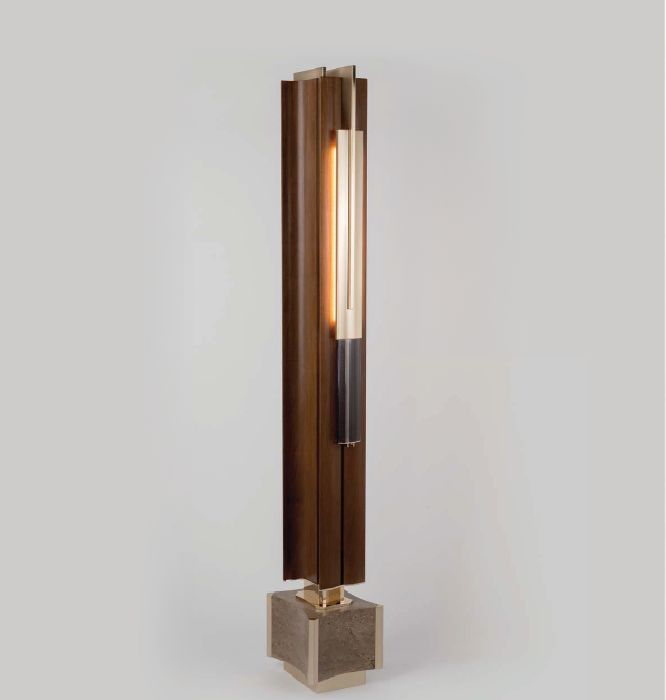 High End Modern Walnut And Marble Floor Lamp From Italy 1236